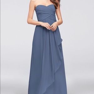 David's Bridal Bridesmaid Steel Blue style W10840